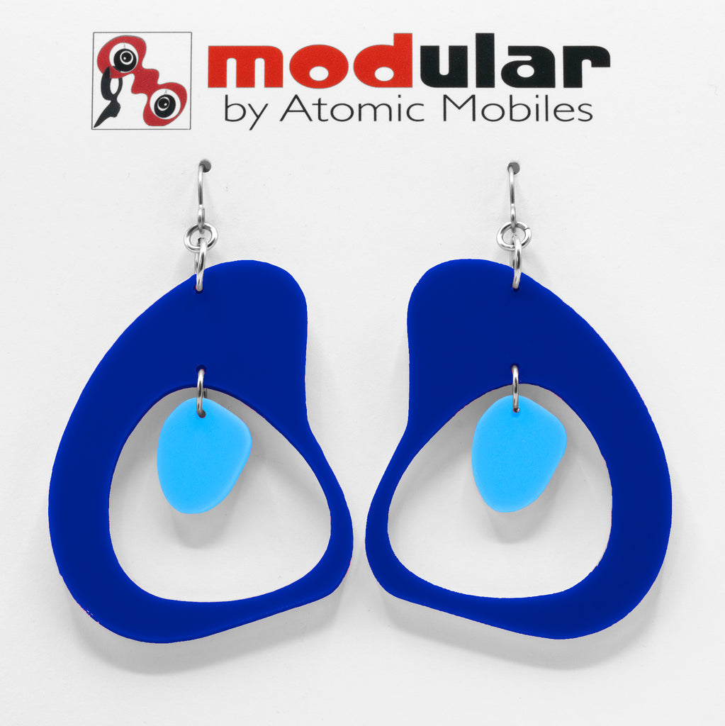 MODular Earrings - Boomerang Statement Navy Blue in Atomic by AtomicMobiles.com - retro era inspired mod handmade jewelry