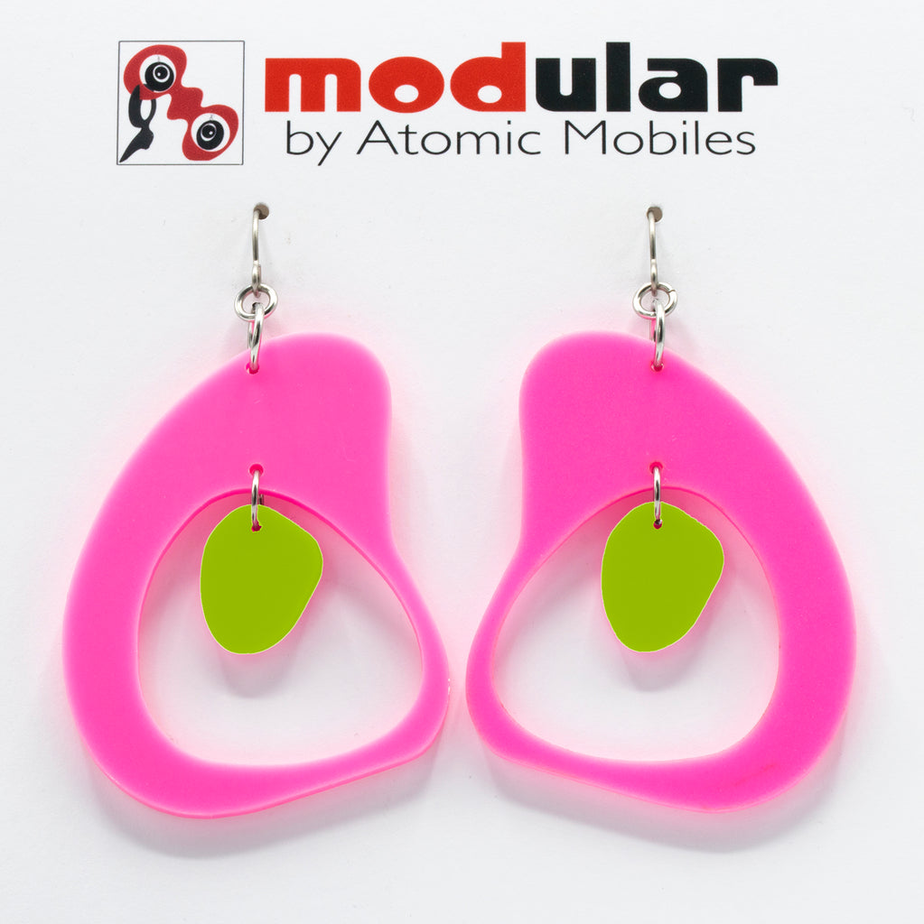 MODular Earrings - Boomerang Statement Earrings in Hot Pink and Lime by AtomicMobiles.com - retro era inspired mod handmade jewelry
