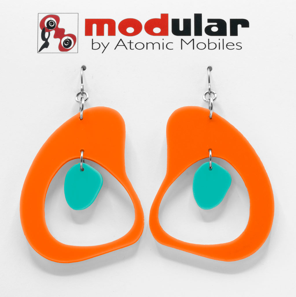 MODular Earrings - Boomerang Statement Earrings in Orange and Aqua by AtomicMobiles.com - retro era inspired mod handmade jewelry