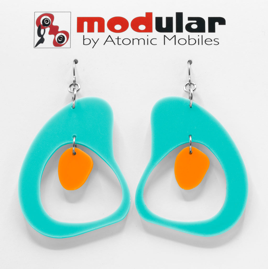 MODular Earrings - Boomerang Statement Earrings in Aqua and Orange by AtomicMobiles.com - retro era inspired mod handmade jewelry