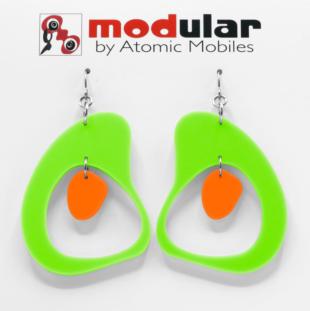MODular Earrings - Boomerang Statement Earrings in Lime and Orange by AtomicMobiles.com - retro era inspired mod handmade jewelry