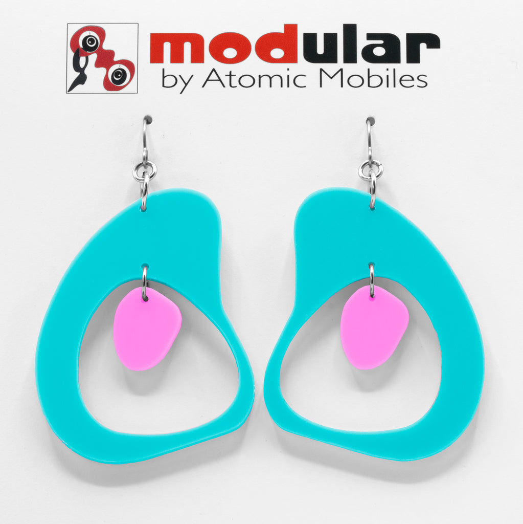 MODular Earrings - Boomerang Statement Earrings in Aqua and Hot Pink by AtomicMobiles.com - retro era inspired mod handmade jewelry