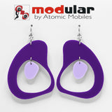 MODular Earrings - Boomerang Statement Earrings in Purple by AtomicMobiles.com - retro era inspired mod handmade jewelry