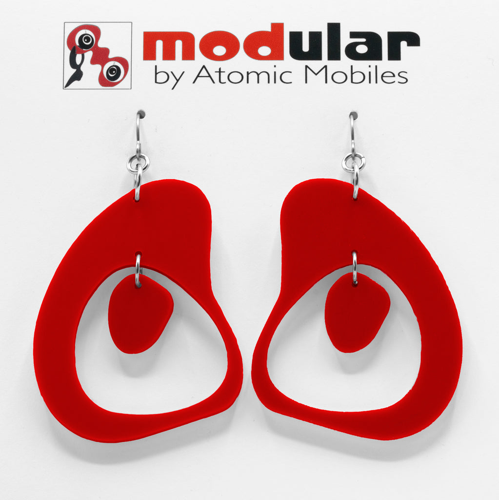 MODular Earrings - Boomerang Statement Earrings in Red by AtomicMobiles.com - retro era inspired mod handmade jewelry
