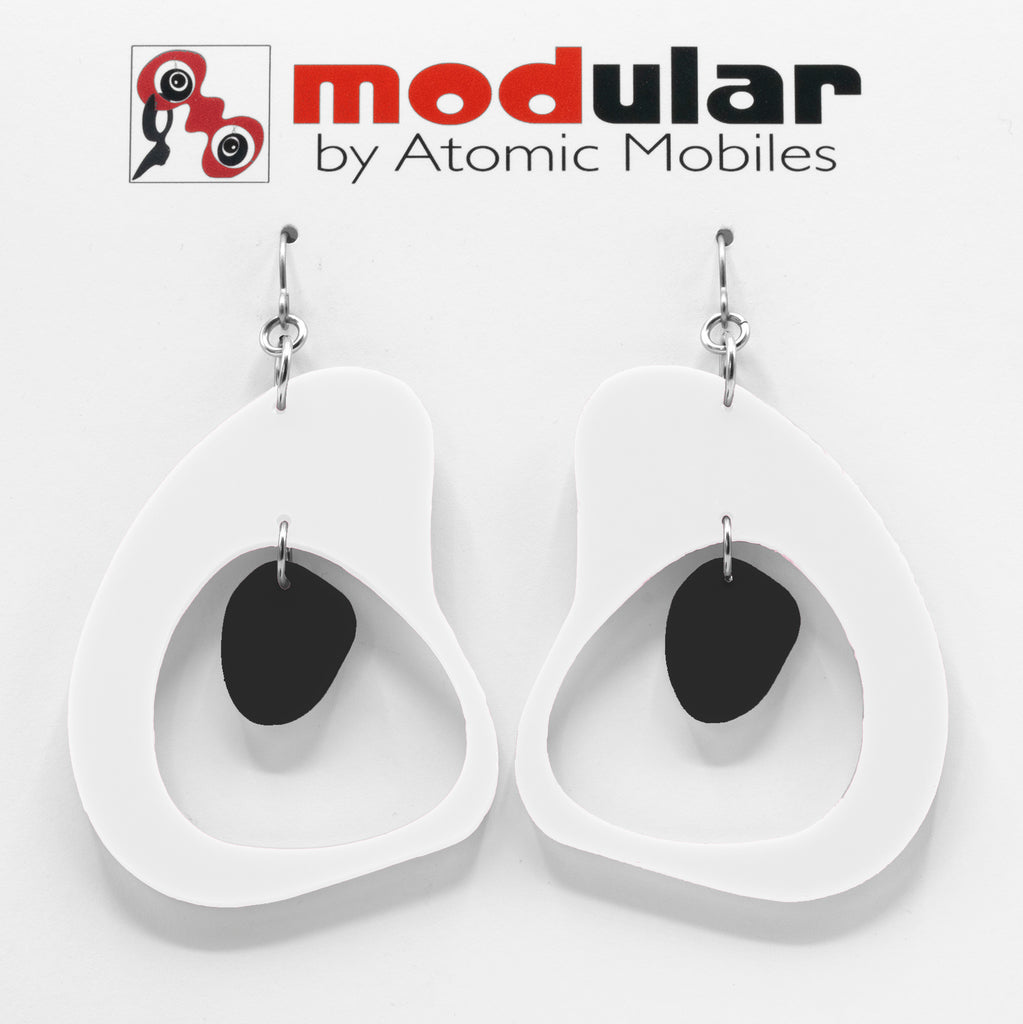 MODular Earrings - Boomerang Statement Earrings in White and Black by AtomicMobiles.com - retro era inspired mod handmade jewelry