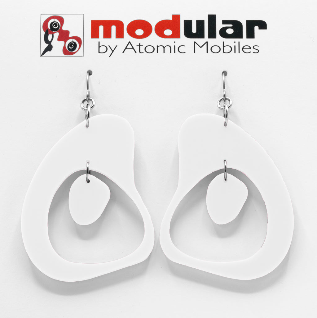 MODular Earrings - Boomerang Statement Earrings in White by AtomicMobiles.com - retro era inspired mod handmade jewelry