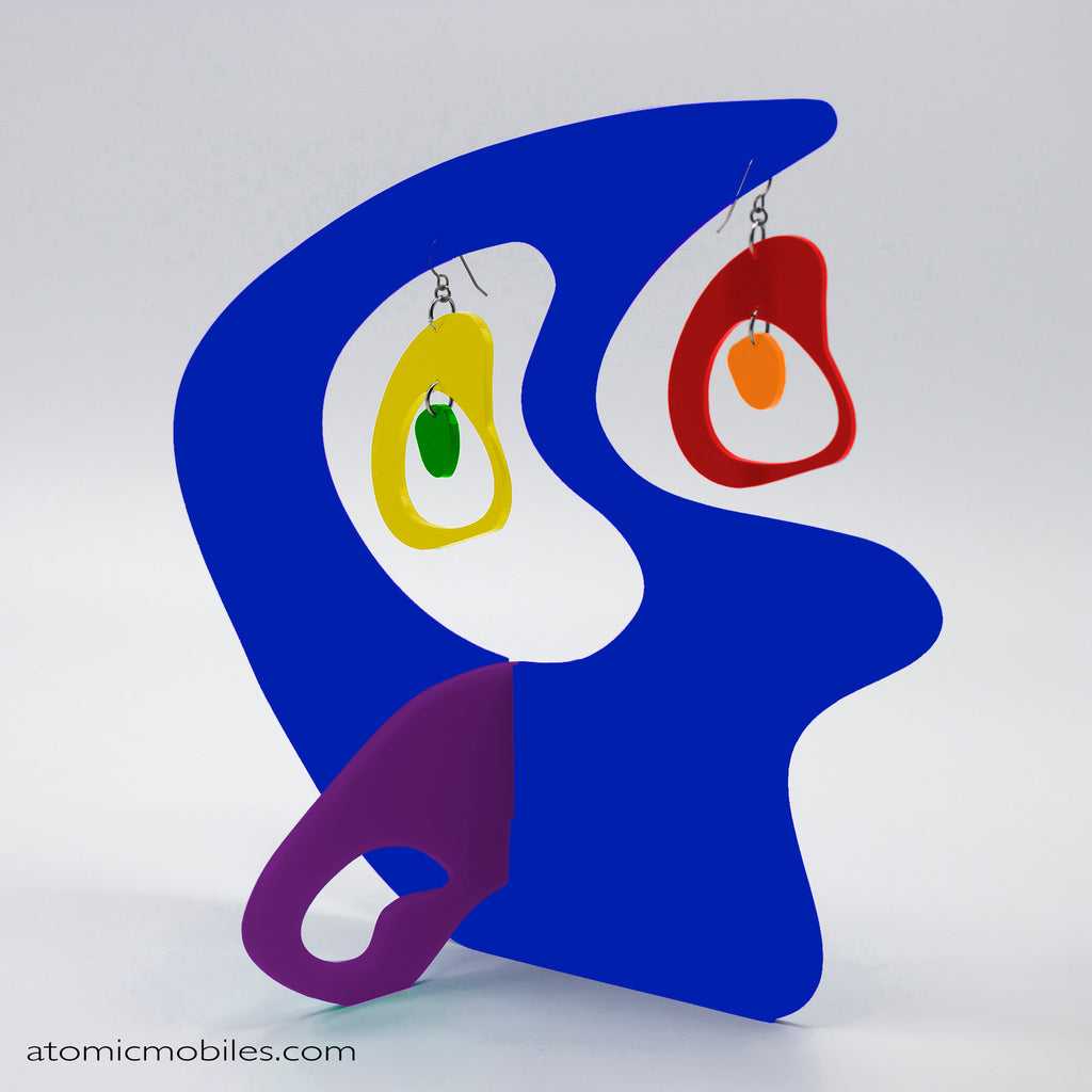 LGBTQ Rainbow Pride Boomerang Tabletop Sculpture + Earrings in Blue, Purple, Red, Yellow, and Orange by AtomicMobiles.com