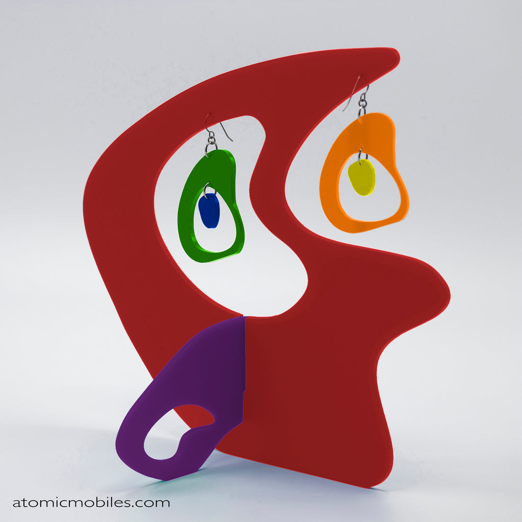 LGBTQ Rainbow Pride Boomerang Tabletop Sculpture + Earrings in Red by AtomicMobiles.com
