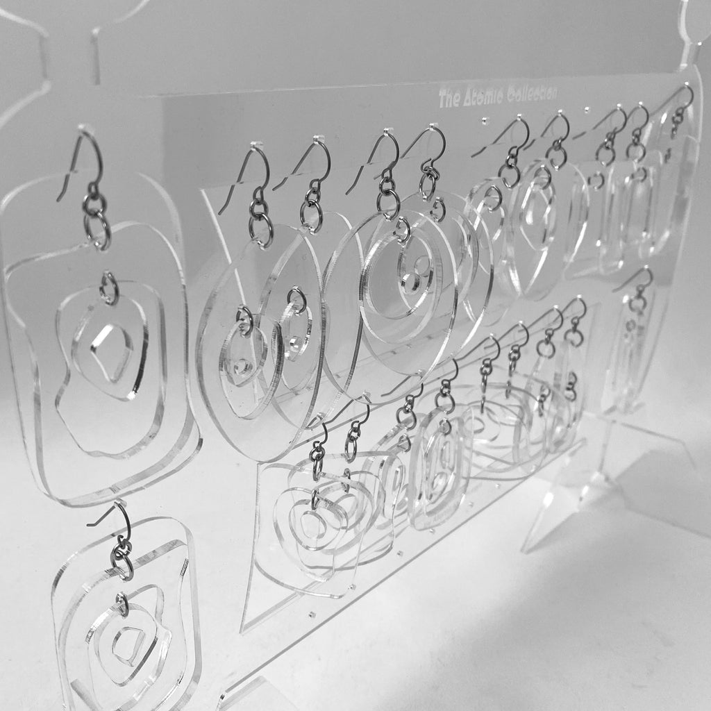 10 Pair of Groovy Clear Lucite Acrylic Retro Statement Earrings and Earring Holder by AtomicMobiles.com