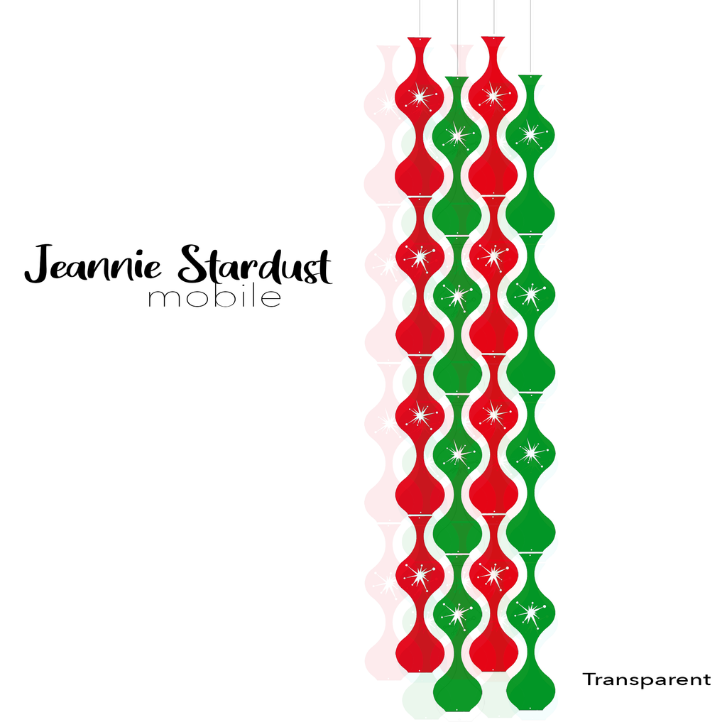Jeannie Stardust Transparent Clear Red and Green Acrylic Mobile - DIY Kit - Featuring Starburst cutouts in the parts by AtomicMobiles.com