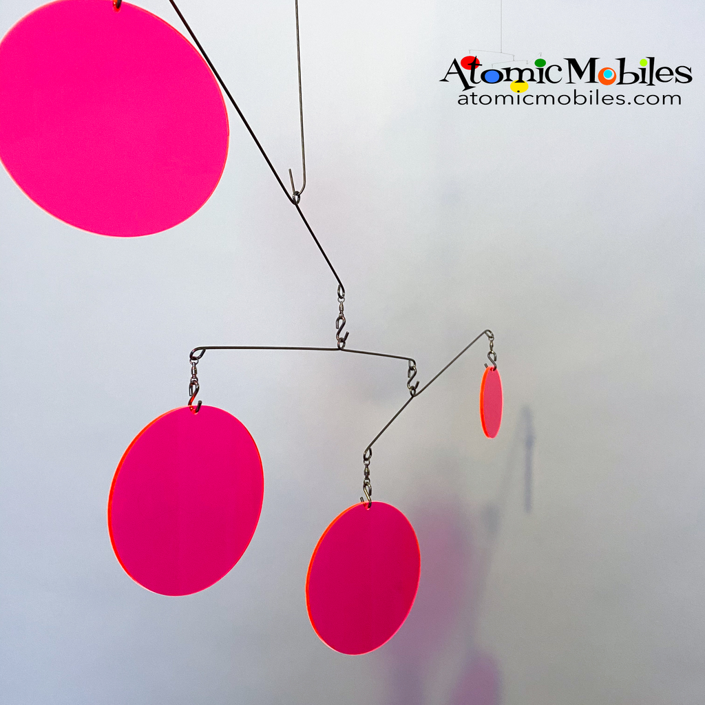 Neon Fluorescent Hot Pink Atomic Mobile -  hanging modern kinetic art mobiles by AtomicMobiles.com