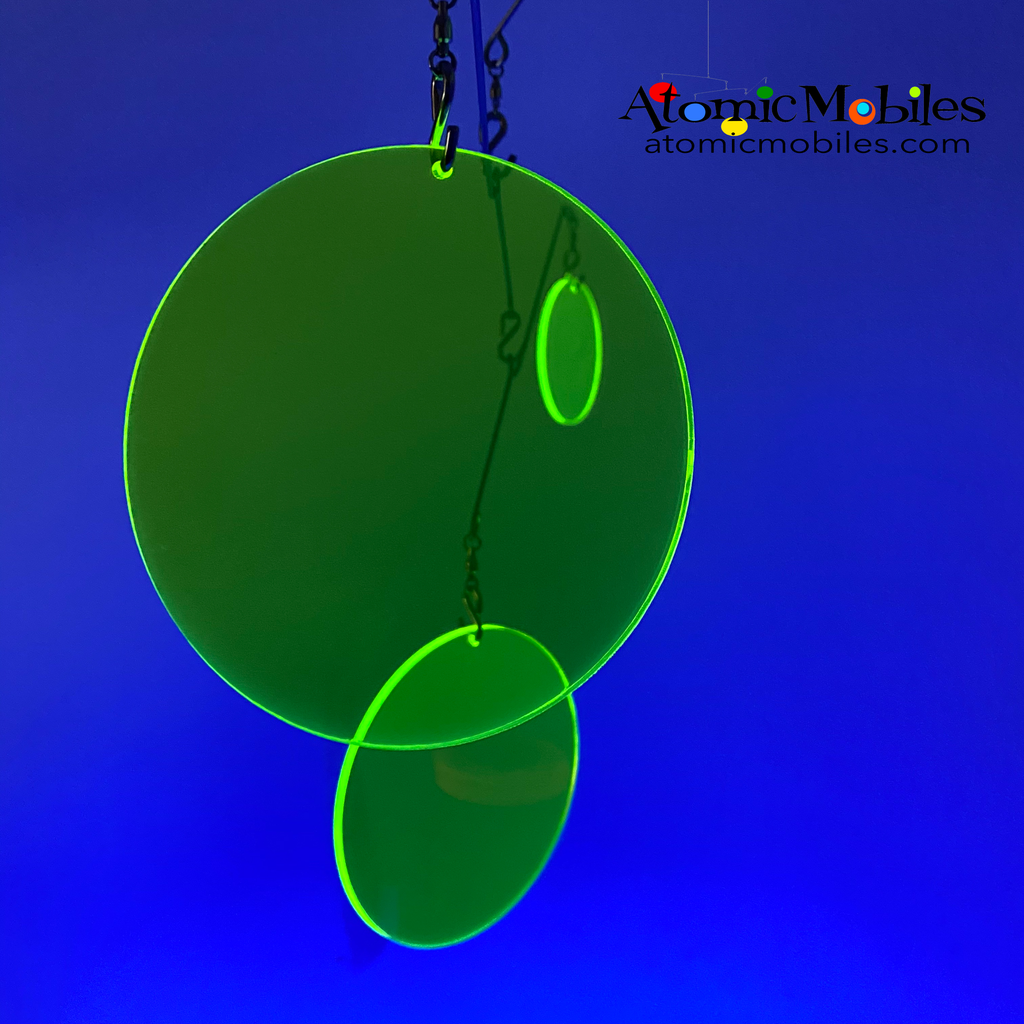 Neon Fluorescent Lime Green Atomic Mobile under black light -  hanging modern kinetic art mobiles by AtomicMobiles.com