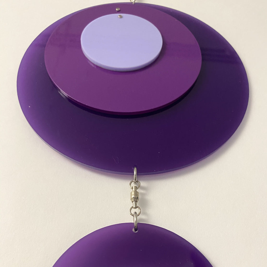 Retro 1970s vertical kinetic art mobile in purple circle DOTS ready to ship today by AtomicMobiles.com