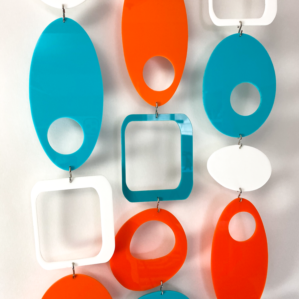 Glossy acrylic Palm Springs Colors of Orange, Aqua, and White - DIY Kit to make room divider, window treatment, wall art, or mobile! by AtomicMobiles.com