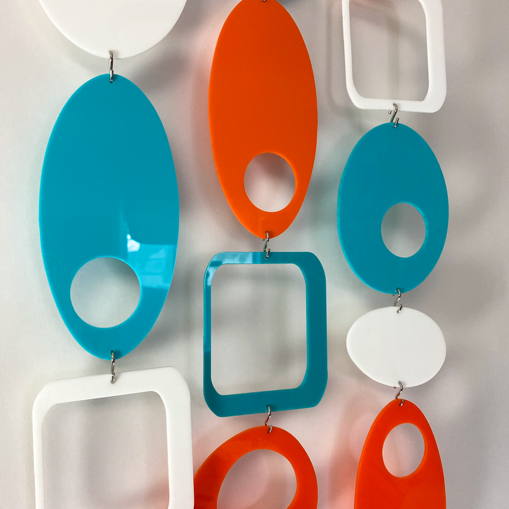 Acrylic Palm Springs Colors of Orange, Aqua, and White - DIY Kit to make room divider, window treatment, wall art, or mobile! by AtomicMobiles.com
