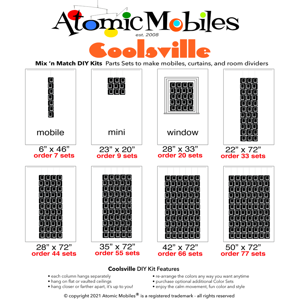 Coolsville Size Chart for mix 'n match DIY kits to make hanging art mobiles, room dividers, and curtains by AtomicMobiles.com
