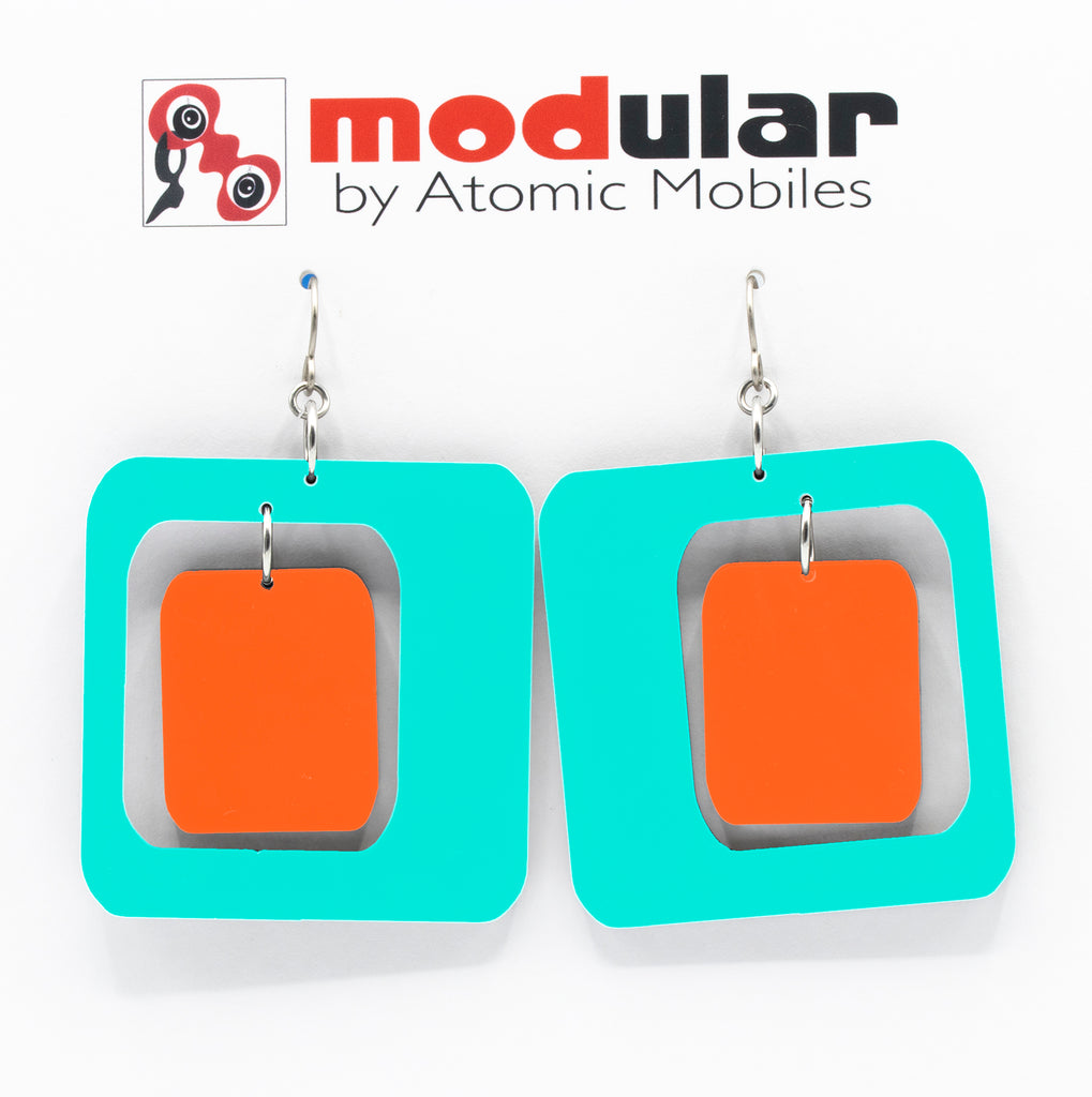 MODular Earrings - Coolsville Statement Earrings in Aqua and Orange by AtomicMobiles.com - retro era inspired mod handmade jewelry