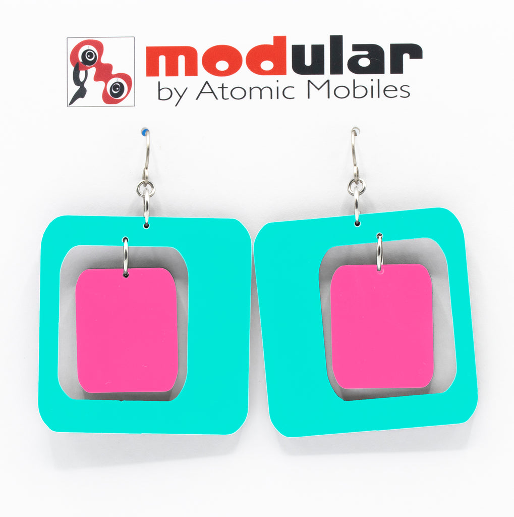 MODular Earrings - Coolsville Statement Earrings in Aqua and Hot Pink by AtomicMobiles.com - retro era inspired mod handmade jewelry