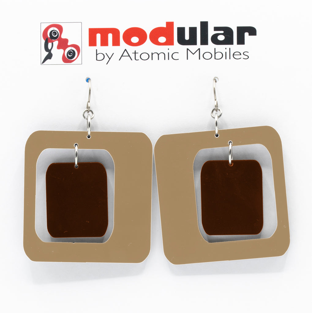 MODular Earrings - Coolsville Statement Earrings in Beige Tan and Brown by AtomicMobiles.com - retro era inspired mod handmade jewelry