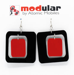 MODular Earrings - Coolsville Statement Earrings in Black and Red by AtomicMobiles.com - retro era inspired mod handmade jewelry