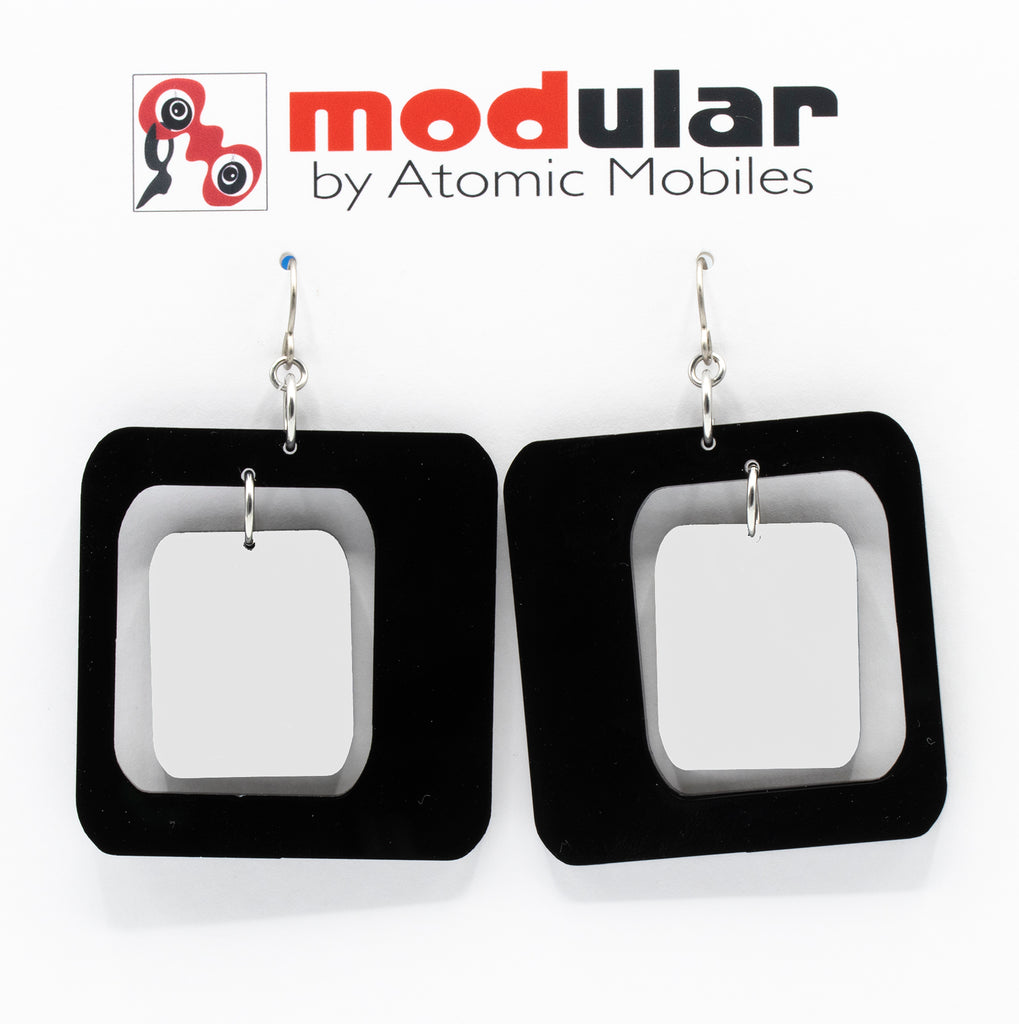 MODular Earrings - Coolsville Statement Earrings in Black and White by AtomicMobiles.com - retro era inspired mod handmade jewelry