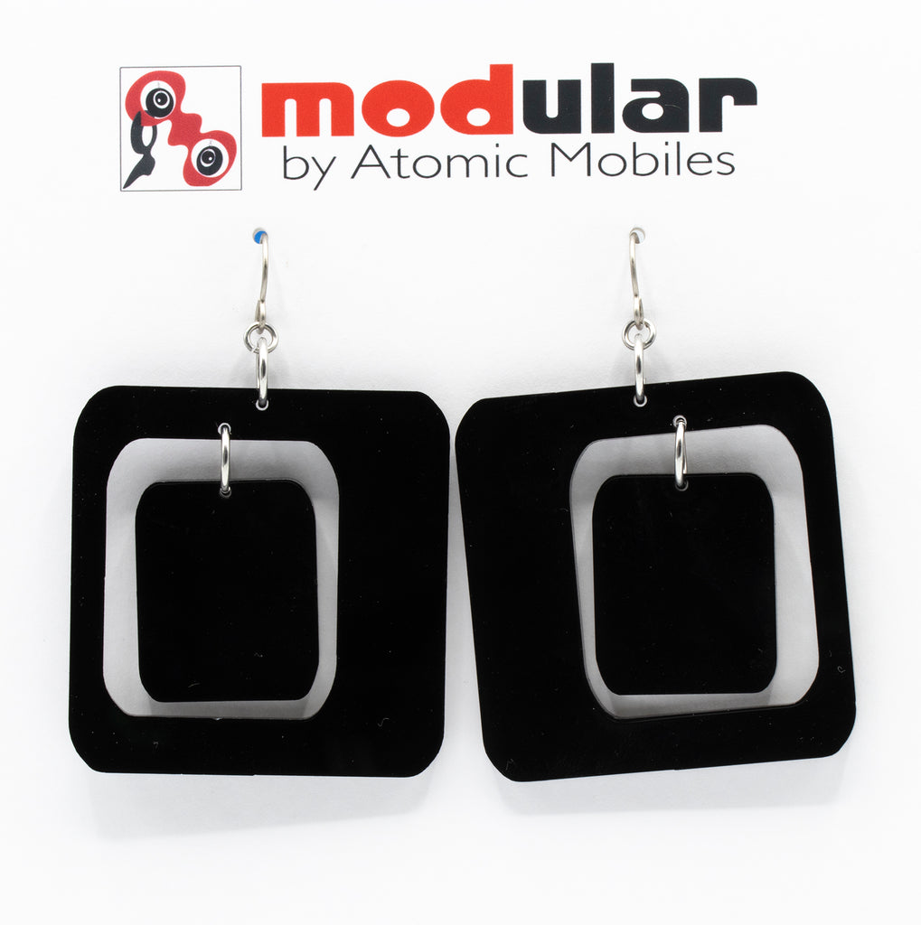 MODular Earrings - Coolsville Statement Earrings in Black by AtomicMobiles.com - retro era inspired mod handmade jewelry