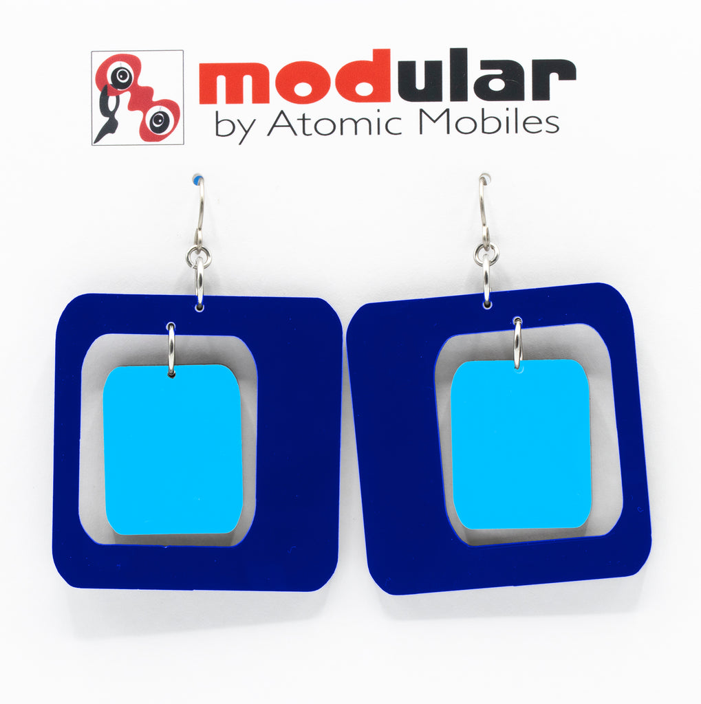 MODular Earrings - Coolsville Statement Earrings in Navy Blue by AtomicMobiles.com - retro era inspired mod handmade jewelry