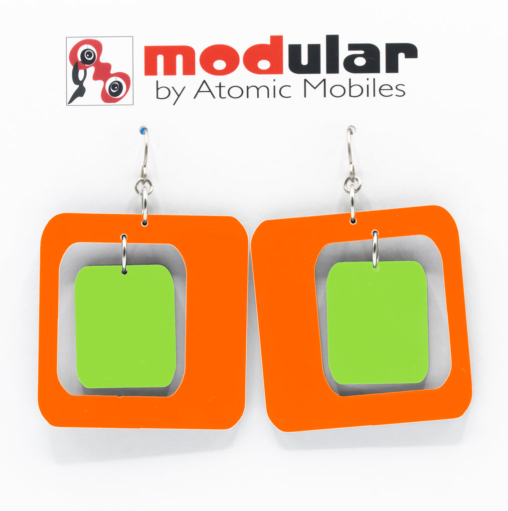 MODular Earrings - Coolsville Statement Earrings in Orange and Lime by AtomicMobiles.com - retro era inspired mod handmade jewelry