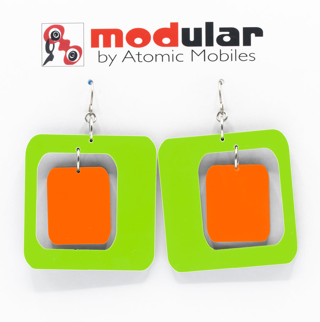 MODular Earrings - Coolsville Statement Earrings in Lime and Orange by AtomicMobiles.com - retro era inspired mod handmade jewelry