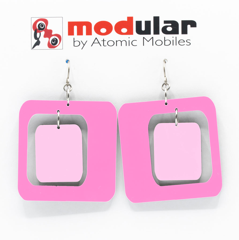 MODular Earrings - Coolsville Statement Earrings in Hot Pink by AtomicMobiles.com - retro era inspired mod handmade jewelry