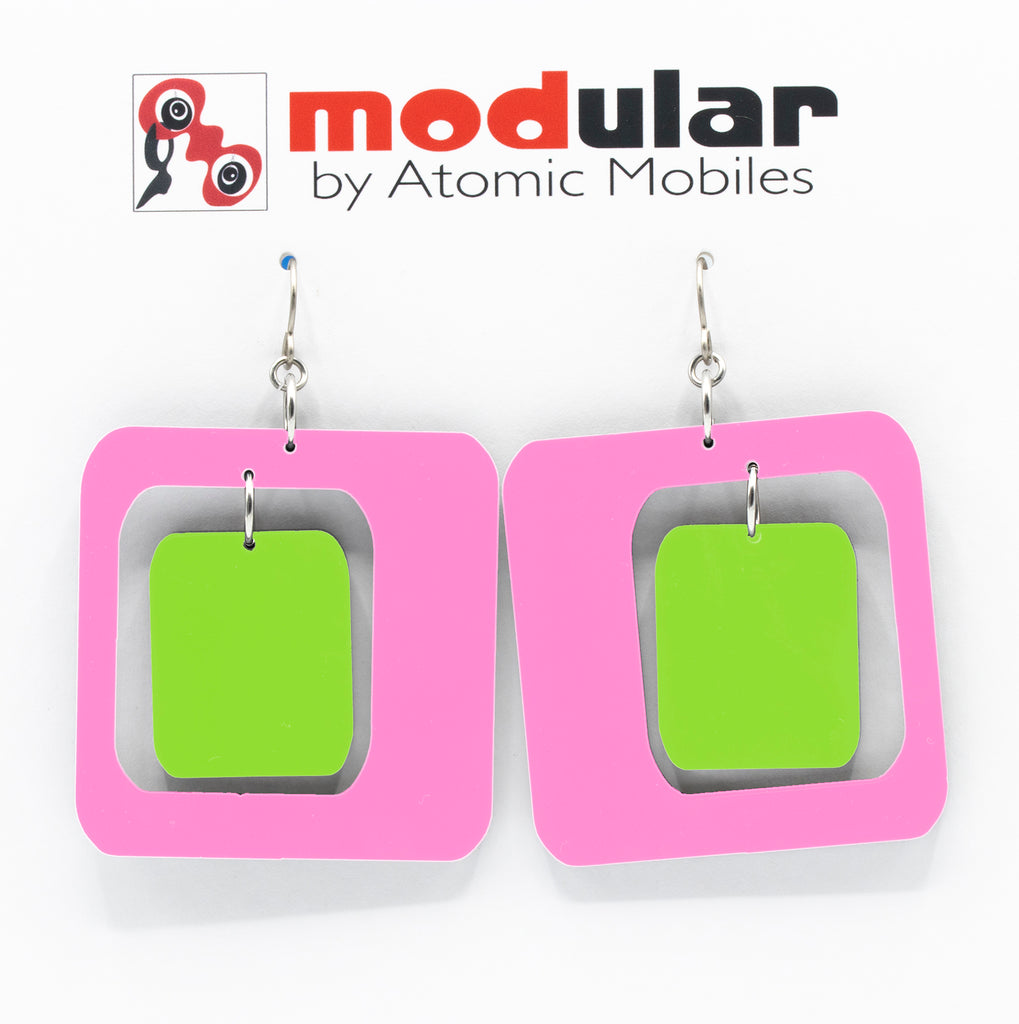 MODular Earrings - Coolsville Statement Earrings in Hot Pink and Lime by AtomicMobiles.com - retro era inspired mod handmade jewelry