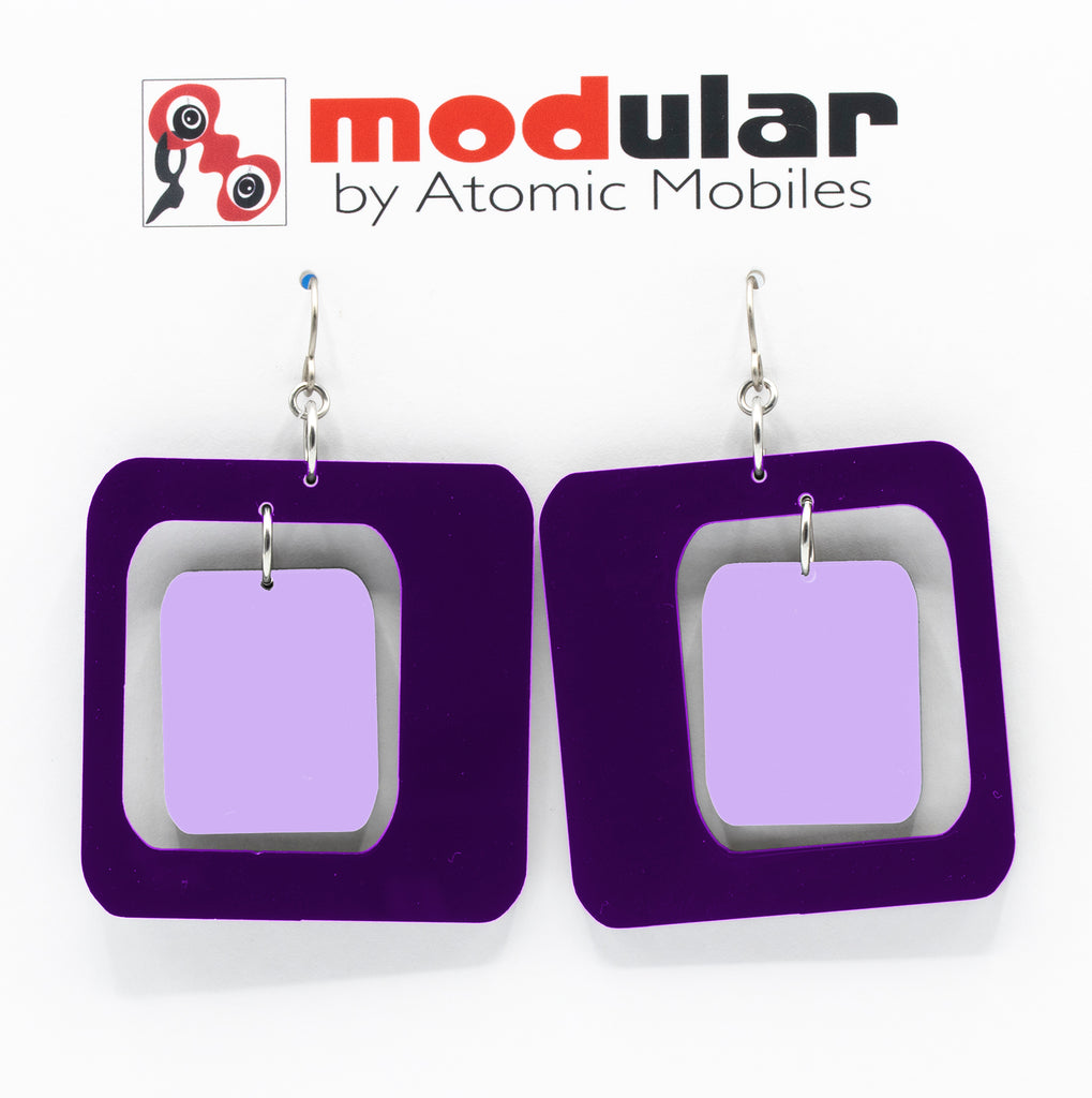 MODular Earrings - Coolsville Statement Earrings in Purple by AtomicMobiles.com - retro era inspired mod handmade jewelry