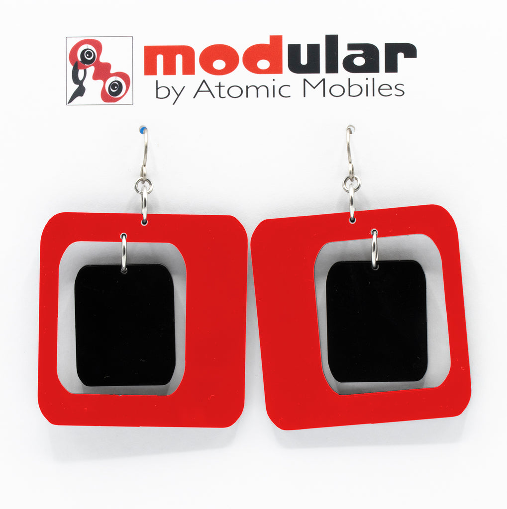 MODular Earrings - Coolsville Statement Earrings in Red and Black by AtomicMobiles.com - retro era inspired mod handmade jewelry