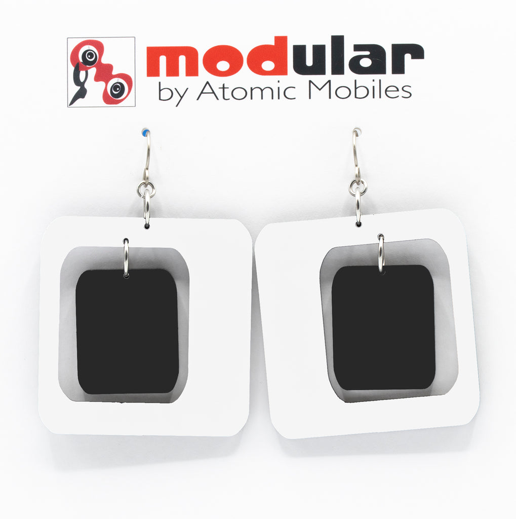 MODular Earrings - Coolsville Statement Earrings in White and Black by AtomicMobiles.com - retro era inspired mod handmade jewelry