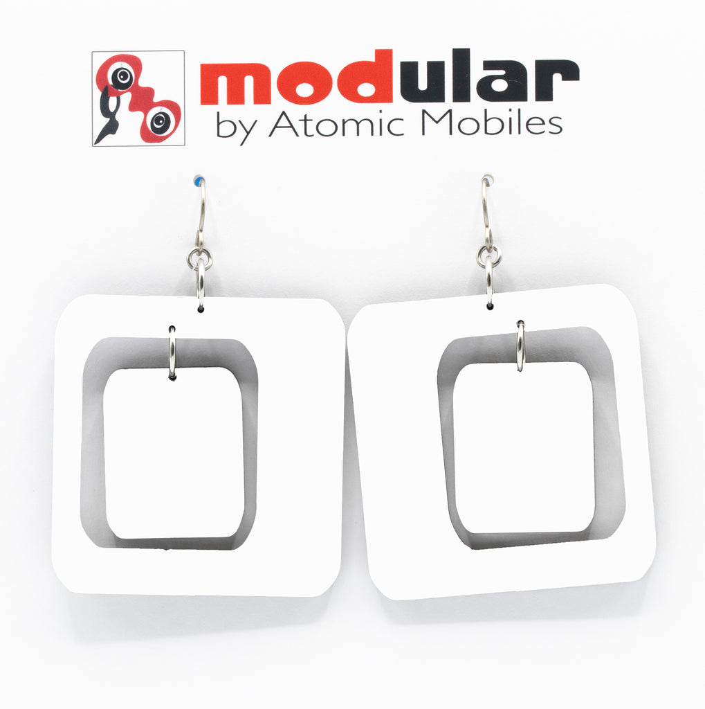 MODular Earrings - Coolsville Statement Earrings in White by AtomicMobiles.com - retro era inspired mod handmade jewelry