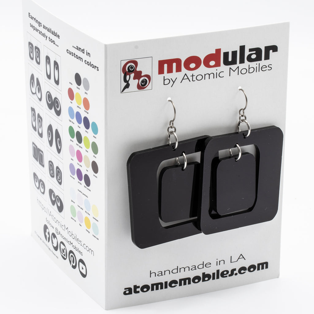 MODular Earrings Card - Boomerang Statement Earrings by AtomicMobiles.com - retro era inspired mod handmade jewelry