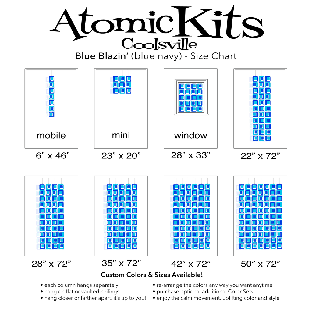 Color Chart for Blue and Navy Coolsville Reflective Room Divider, Curtain, Partition, Wall Art, Mobile by AtomicMobiles.com