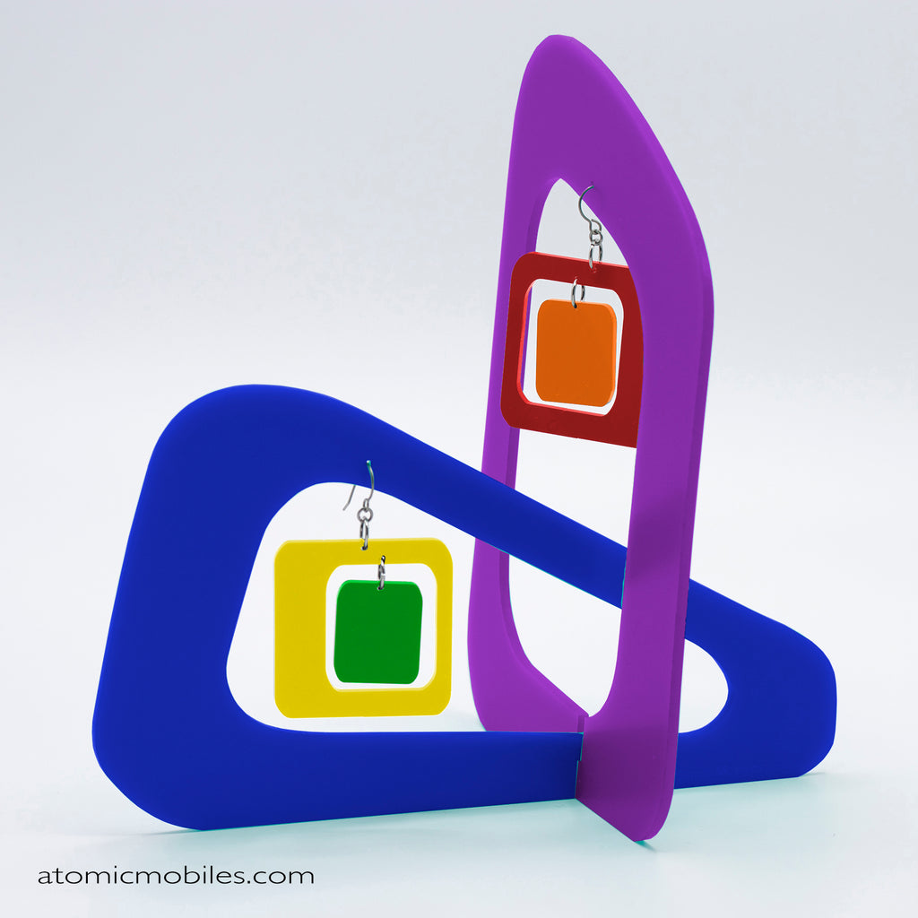 LGBTQ Rainbow Pride Coolsville Tabletop Sculpture + Earrings in Purple by AtomicMobiles.com