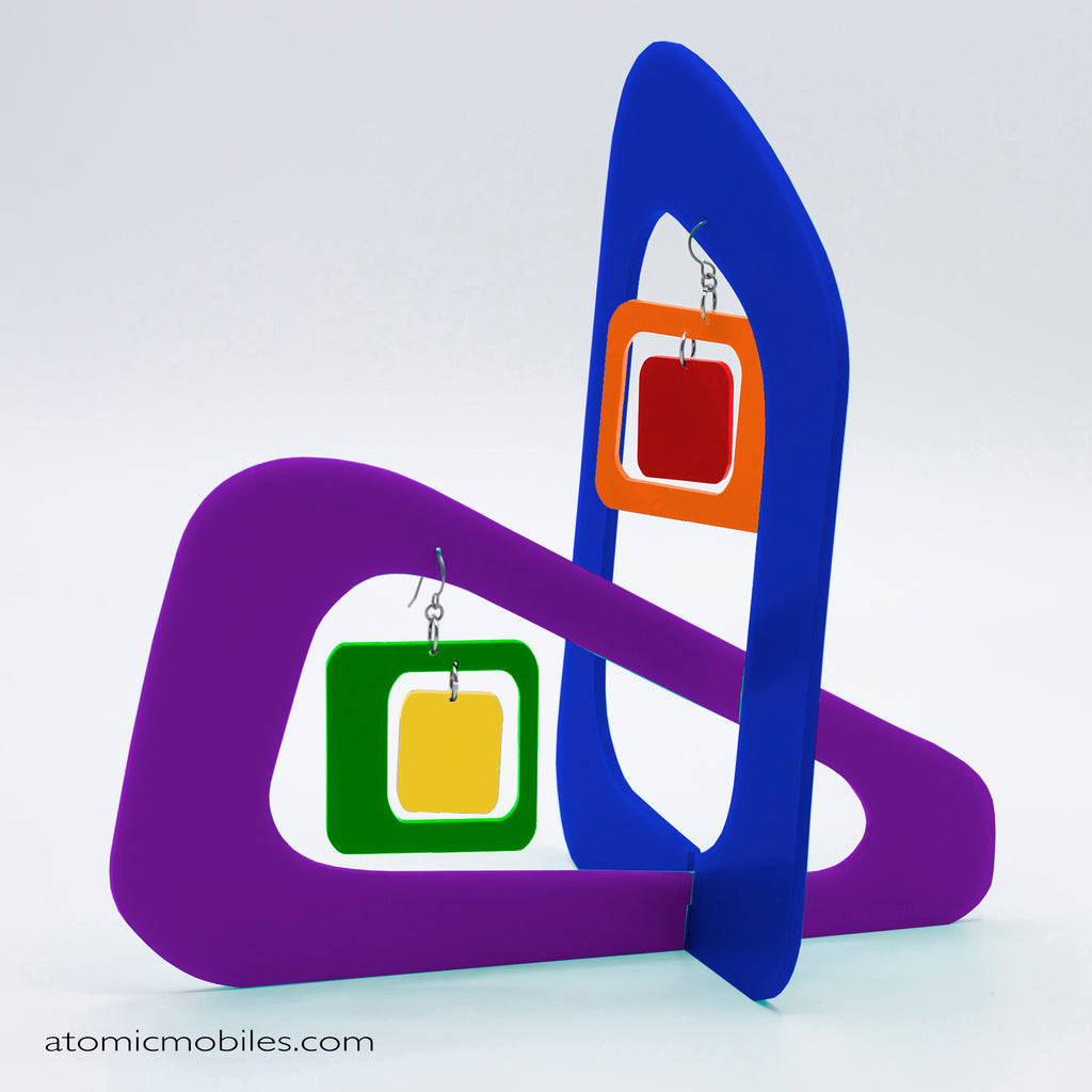 LGBTQ Rainbow Pride Coolsville Tabletop Sculpture + Earrings in Blue by AtomicMobiles.com