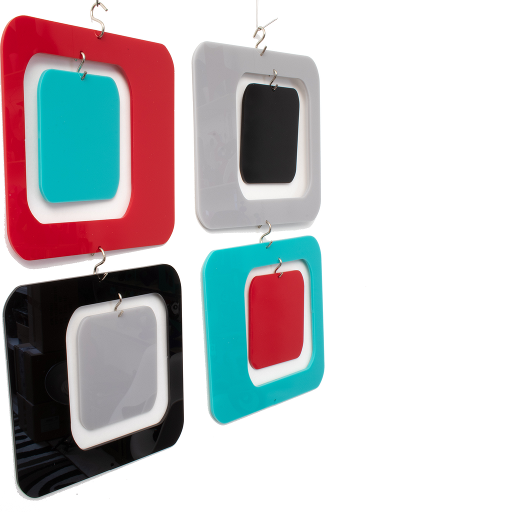 "Coolsville 6"" Square Retro Room Divider Screens Kit in multi colors by AtomicMobiles.com"