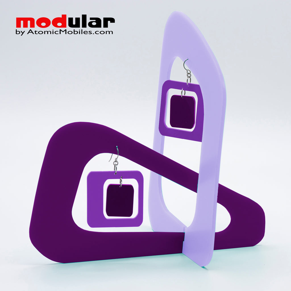 Handmade Coolsville mod style earrings and stabile kinetic modern art sculpture in shades of Purple by AtomicMobiles.com
