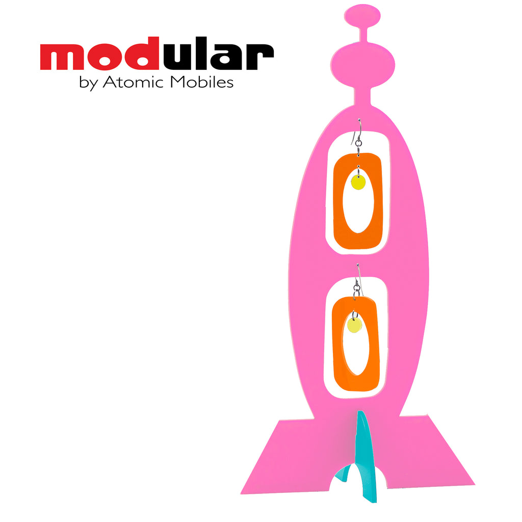 MODular Earrings + Stabile modern art sculpture in Pink Orange Yellow and Aqua by AtomicMobiles.com