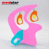 Handmade Boomerang Retro style earrings and stabile kinetic modern art sculpture in Hot Pink Orange Aqua and Yellow by AtomicMobiles.com