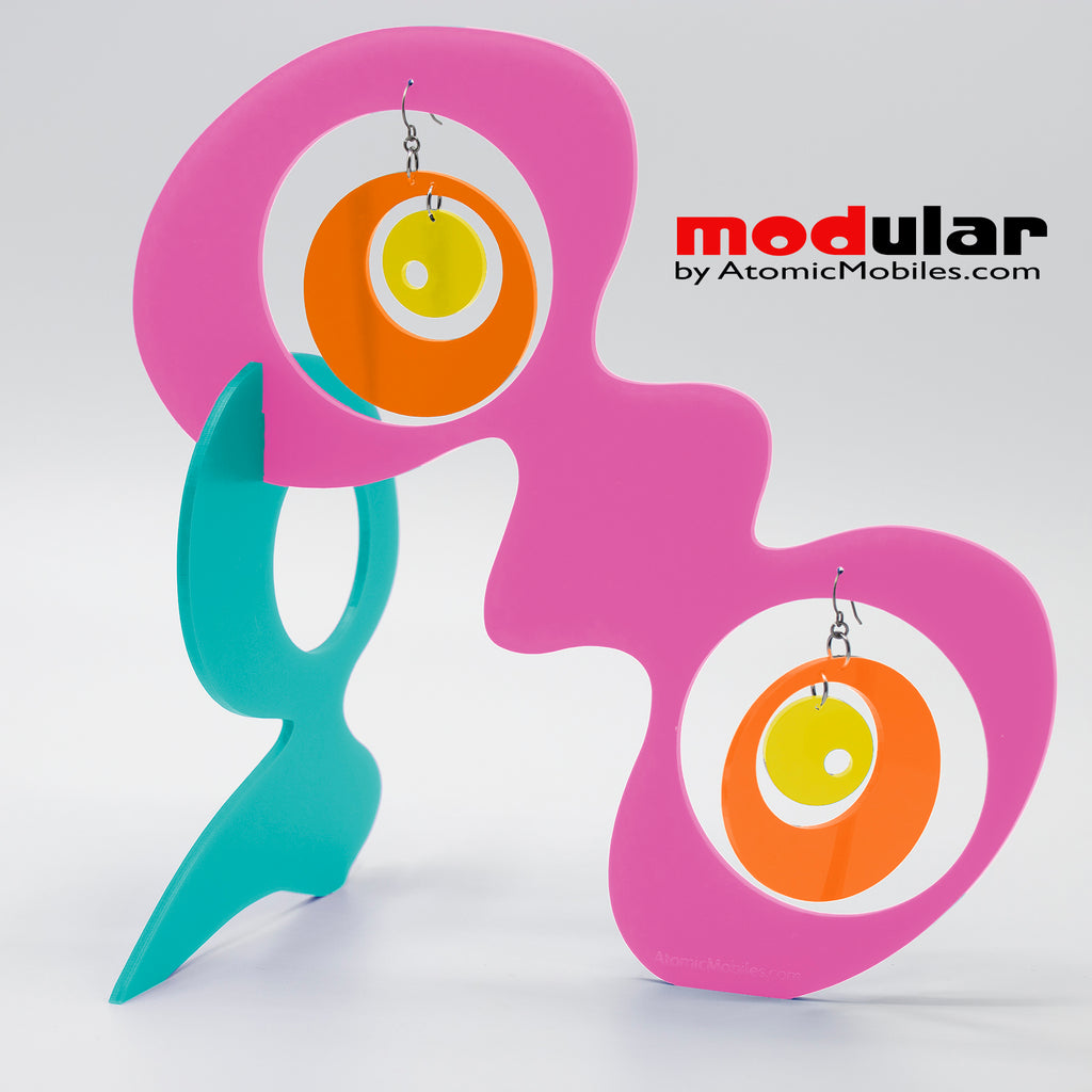Handmade Groovy style earrings and stabile kinetic modern art sculpture in Hot Pink Aqua Orange and Yellow by AtomicMobiles.com