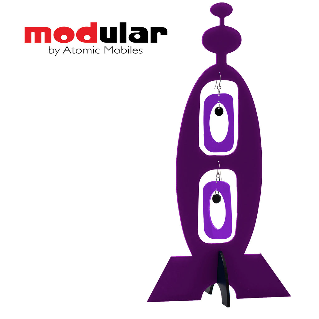 MODular Earrings + Stabile modern art sculpture in Purple by AtomicMobiles.com