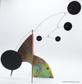 Stunning hand painted luminescent lime, blue, red, yellow color kinetic modern art stabile sculpture by AtomicMobiles.com