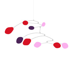 Colorful Mobiles - red pink and dark purple - by Atomic Mobiles