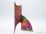 Gorgeous hand painted pink, lime green, purple, blue hand painted kinetic art sculpture stabile for table top, coffee table, or shelf by AtomicMobiles.com