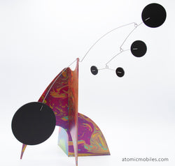 Gorgeous pink, lime green, purple, blue kinetic art sculpture stabile for table top, coffee table, or shelf by AtomicMobiles.com