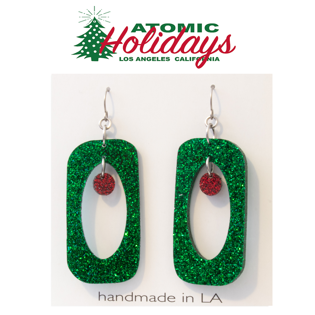 Stunning Glitter Glam Green and Red Christmas Earrings by AtomicMobiles.com
